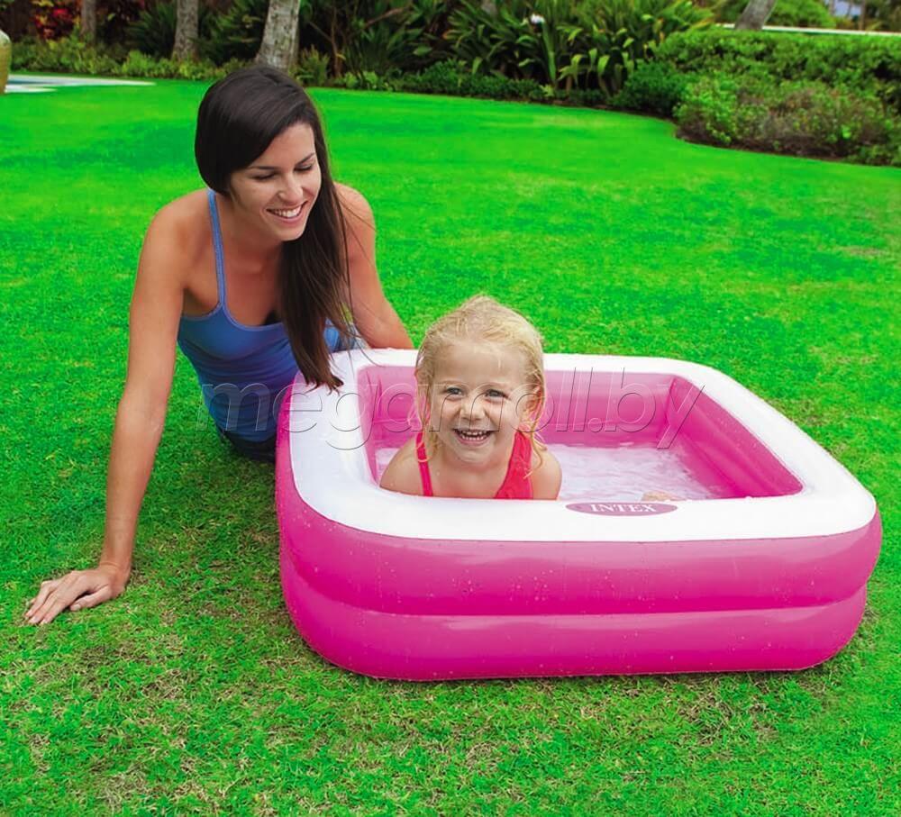 Детский надувной бассейн 57100 с надувным дном intex