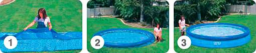 Установка надувного бассейна Intex